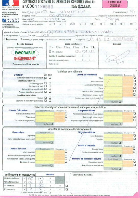 Driving Test Score Report