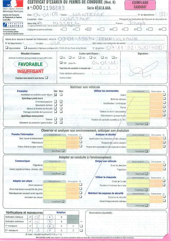 Driving Test Score Report